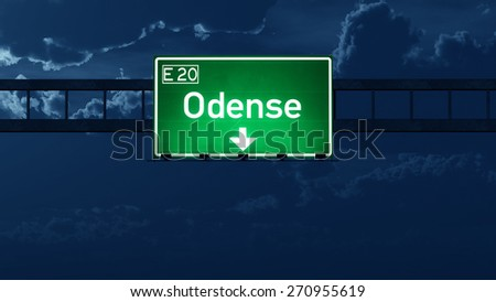 Odense Denmark Highway Road Sign at Night 3D artwork - stock photo