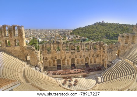 Odeon of Herodes Atticus view from Acropolis in Athens,Greece - stock photo