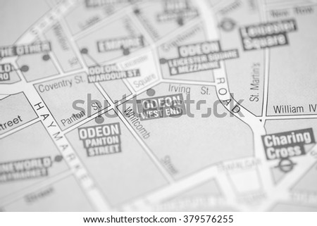 Odeon West End Cinema. London, UK map.