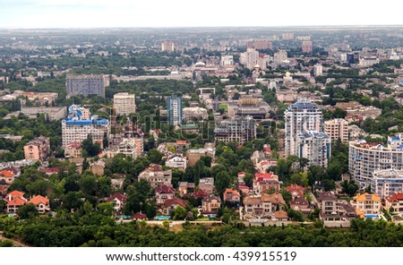 Odessa aerial view architecture urban buildings, structures, residential and administrative buildings and exteriors with views of the city and city parks on a foggy day