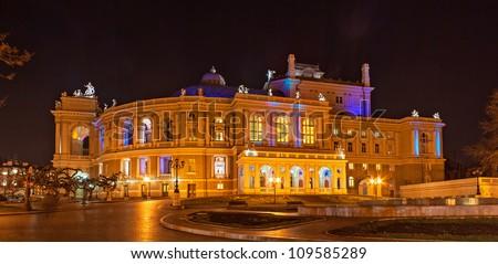 Odessa Opera and Ballet Theater at night. Ukraine - stock photo