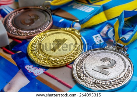 Odessa, Ukraine, April 26, 2015: Cup Ukraine on Thai boxing among children. Kids boxing, kickboxing children. Prize medal tournament. Popularization of sports and healthy lifestyle - stock photo