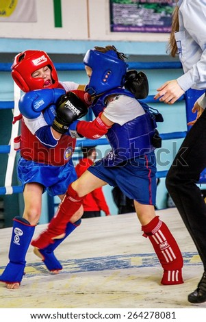 Odessa, Ukraine, April 26, 2015: Cup Ukraine on Thai boxing among children. Kids boxing, kickboxing children. Children fight with these adult emotions. Popularization of sports and healthy lifestyle - stock photo