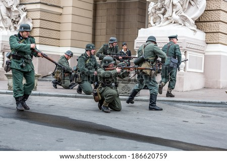 Odessa, Ukraine - April 10: Fragment reconstruction of combat events in 1943 at the Battle of Odessa in the Second World War of 1941-1945. Wehrmacht soldiers, April 10, 2014 in Odessa, Ukraine