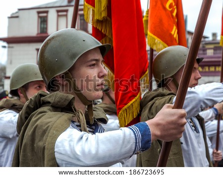 Odessa, Ukraine - April 10 : Fragment reconstruction of combat events in 1943 at the Battle of Odessa in the Second World War of 1941-1945. Soviet soldiers , April 10 , 2014 in Odessa , Ukraine
