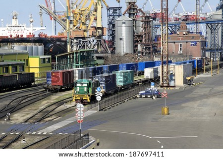 ODESSA, UKRAINE - APRIL 16: maritime cargo port of Odessa . Container terminal . Loading is carried out works of Ukrainian industrial goods and cargo , April 16, 2014 Odessa, Ukraine