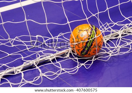 Odessa, Ukraine - April 12, 2016: World Cup play-off match UKRAINE -SLOVAKIYA. Playing futsal. Mini soccer on the big stage of the sports hall covering modern playground - stock photo