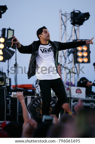 ODESSA,UKRAINE-15 AUGUST,2017: Rock concert.Popular American punk rock band Zebrahead performing live set on stage of festival Zgames