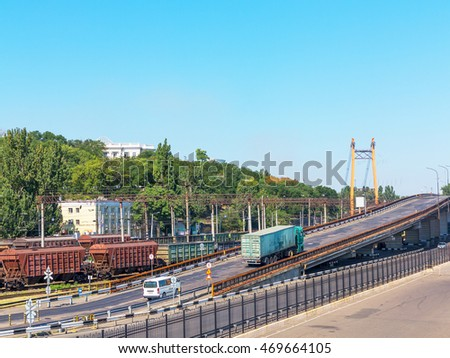 Odessa, Ukraine August 15, 2016: Transport cars and railway junction in the guiding commercial port in Odessa, Ukraine, August 15, 2016