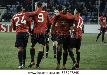 ODESSA, UKRAINE - December 08, 2016: Football players Manchester United celebrate a goal scored during the UEFA Europa League match between Zarya vs Manchester United, Ukraine