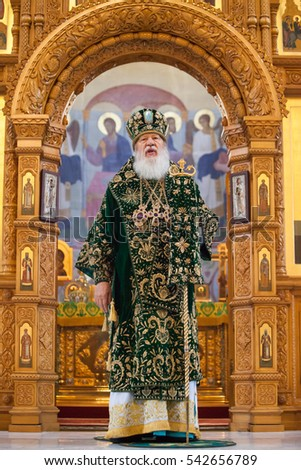 ODESSA, UKRAINE - DECEMBER 24: Odessa Holy Assumption Monastery. Monastic liturgy, Metropolitan  Agafangel, in the cathedral church of the monastery.,December 24, 2016 in Odessa, Ukraine