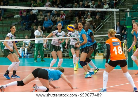 Odessa, Ukraine - January 26, 2017: CEV Volleyball Cup - Women of 16th finals. VC Khimik - Ukraine accepts CSM PRIMARIA TARGOVISTE - Romania. 3: 2. Ukraine in white, Romania in blue uniform