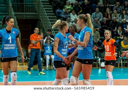 Odessa, Ukraine - January 26, 2017: CEV Volleyball Cup - Women 16th Finals. VC Khimik - Ukraine takes CSM PRIMARIA TARGOVISTE - Romania. 3: 2. Ukraine in white, Romania in blue uniform