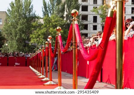 Odessa, Ukraine - July 10, 2015: Way to success on the red carpet (Barrier rope). Odessa international film festival, July 10, 2015, Odessa. - stock photo