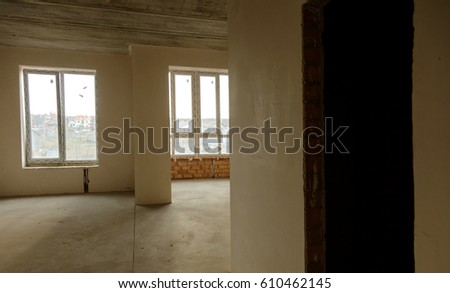 ODESSA, UKRAINE - MARCH 27, 2017: Construction site of modern high-rise building. Building landscape, interior of construction of high-rise apartment house.