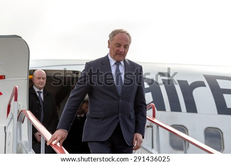ODESSA, UKRAINE - 15 March 2013: official visit to Ukraine, Odessa President of Latvia Andris Berzins. Solemn meeting at the airport. The plane of the President. Attributes of Latvia - Latvian flag