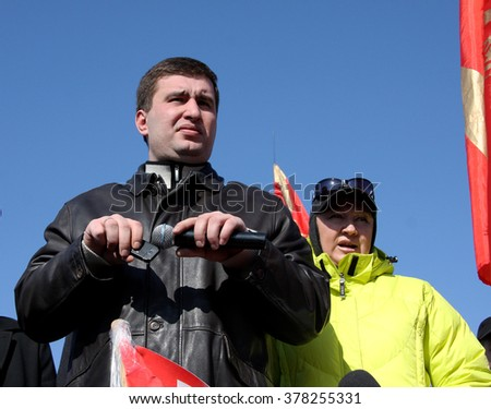 Odessa, Ukraine - March 3, 2009: Ukrainian politician Igor Markov, head of the anti-government protest actions. Politician izgnat and saved from persecution in Russia