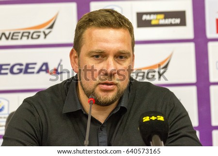 "Odessa, Ukraine - May 13, 2016: head coach of FC ""CHERNOMORETS"" Odessa Alexander Babich in match of  Pari-Match League. Press conference of coach Alexander Babich after game"