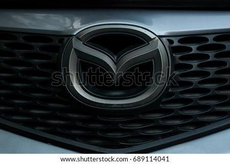 ODESSA, UKRAINE - MAY 7, 2017: Mazda logo and badge on the car