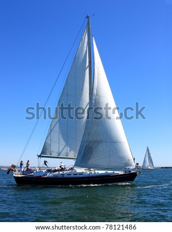 ODESSA,UKRAINE - MAY 28: Sailing boats during a regatta the Cup of ORT Media Group. May 28, 2011 in Odessa, Ukraine