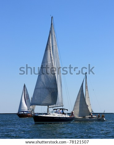ODESSA,UKRAINE - MAY 28: Sailing boats getting ready for a regatta the Cup of ORT Media Group. May 28, 2011 in Odessa, Ukraine - stock photo