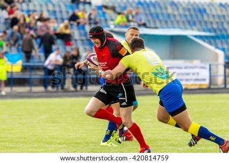 ODESSA, UKRAINE - May 15, 2016: Semi-final of the European Cup rugby. The tense game between the team of Ukraine and Moldova. The battle for the silver medal in the European Cup RWS, IRB