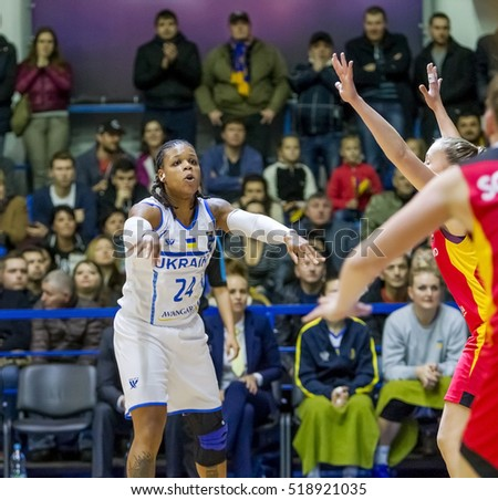 ODESSA, UKRAINE - 19 November 2016: European Basketball Championship for women. The national team of Ukraine adopts German national team. D'Andria Moss legalized first basketball player from USA