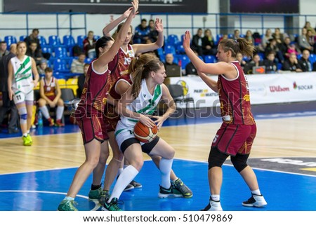 ODESSA, UKRAINE - November 5, 2016: Ukrainian Cup in women's basketball. InterHimik (Odessa) - Tavria Star (Kherson). InterHimik - Champion of Ukraine and leader of the tournament