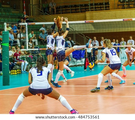 ODESSA, UKRAINE - September 15, 2016: European Championship in women's volleyball. Game of the national teams of national women's Italy and Lithuania in  South, Odessa. 3: 0 Tense game volleyboll
