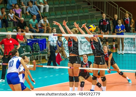 ODESSA, UKRAINE - September 15, 2016: European Championship in women's volleyball. Playing national women's national teams of Ukraine and Austria in South, Odessa. 3: 0. Tense game volleyboll