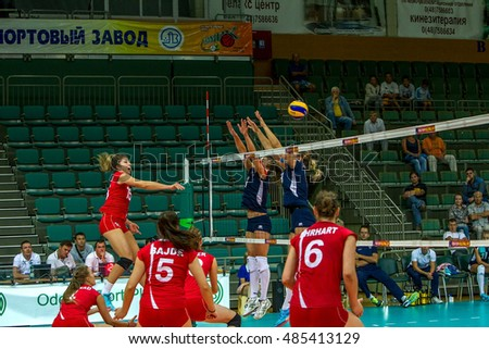 ODESSA, UKRAINE - September 18, 2016: European Championship in women's volleyball. Playing national women's teams of Austria and Lithuania in South, Odessa. 3: 0 Tense game volleyboll. Austria in red