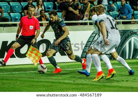 ODESSA, UKRAINE - September 15, 2016: UEFA Europa League group stage Zarya Lugansk - FENERBAHCE Istanbul -Turtsiya.1: 1. Game time of intense struggle for ball