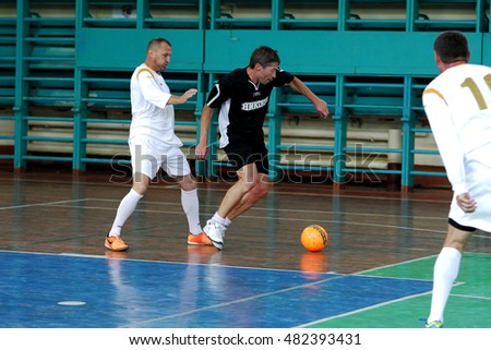 ODESSA, UKRAINE -11 September 2016: Ukrainian Cup on mini-football among veterans of sports, athletes older 60+ and 40+. Game Futsal Championship points. Game mini-soccer