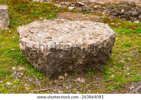 Odeum in the Dion Archeological Site in Greece - stock photo