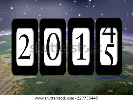 odometer for new year 2015 with planet earth background - stock photo