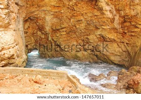 Odysseus Cave on Mljet Island - stock photo