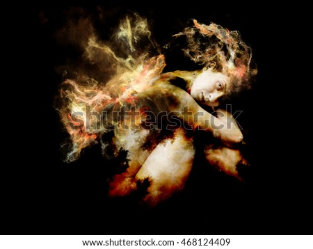 Of Angel and Demon series. Surreal image of young woman