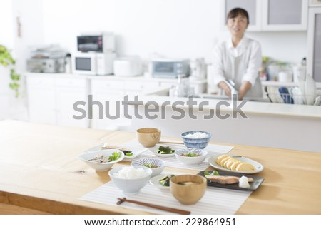 Of being prepared in the kitchen Japanese breakfast - stock photo