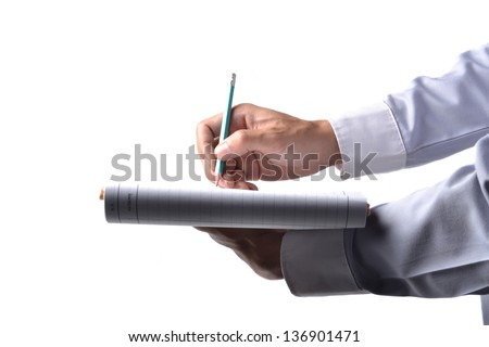 of business person hands with documents writing at - stock photo