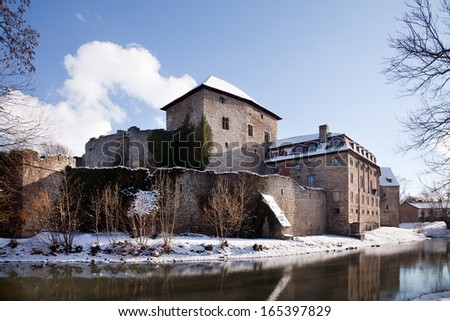 of the moated castle Kapellendorf in winter, Germany - stock photo