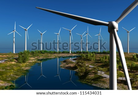Of wind generators   on the sky. - stock photo