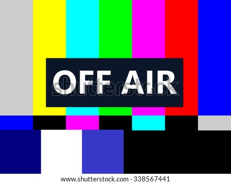 Off Air SMPTE color bars television test pattern  - stock photo