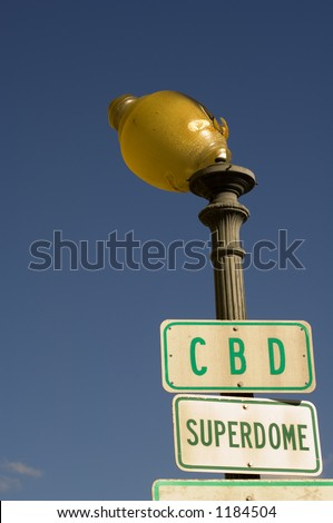 Off-center street light - New Orleans, LA - stock photo