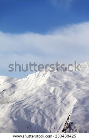 Off-piste slope in nice day. Caucasus Mountains, Georgia, ski resort  - stock photo