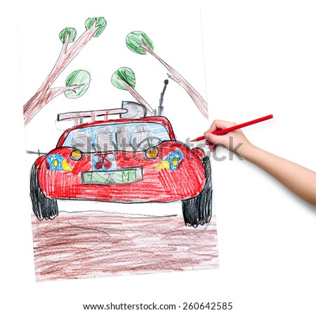 off road car. child drawing. - stock photo