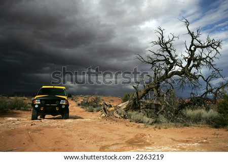 Off road during storm in Utah