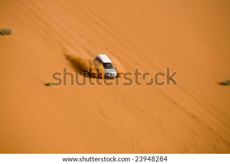 Off-road in the namibian desert, picture taken from the air