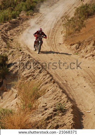 Off road motorcycle racer - stock photo