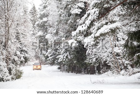 Off-road riding on winter forest snowy road - stock photo