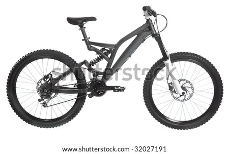 off-road  silver bicycle isolated on background